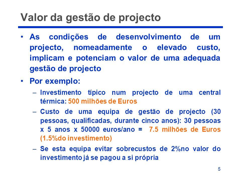 Valor da gestão de projecto
