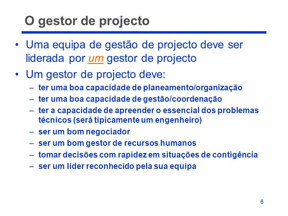 O gestor de projecto Uma equipa de gestão de projecto deve ser liderada por um gestor de projecto. Um gestor de projecto deve: