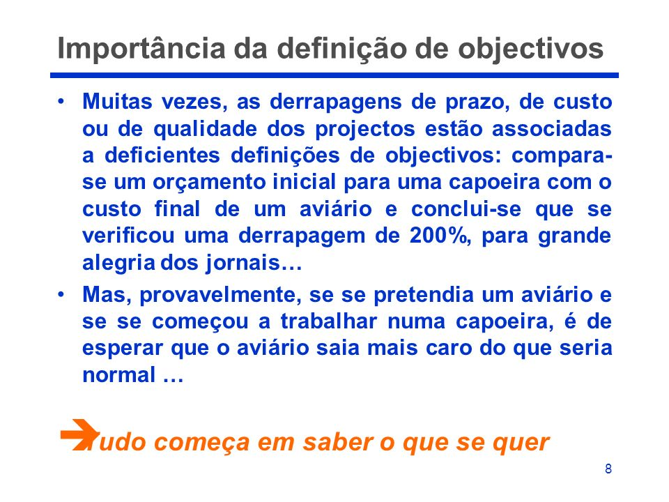 Importância da definição de objectivos
