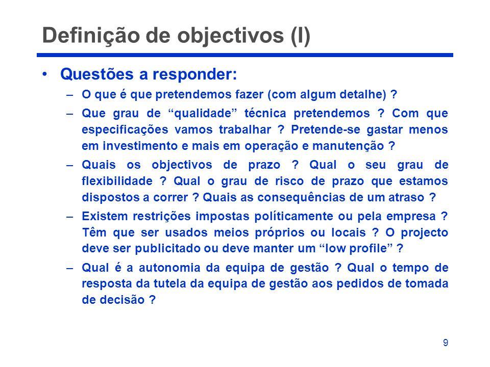 Definição de objectivos (I)