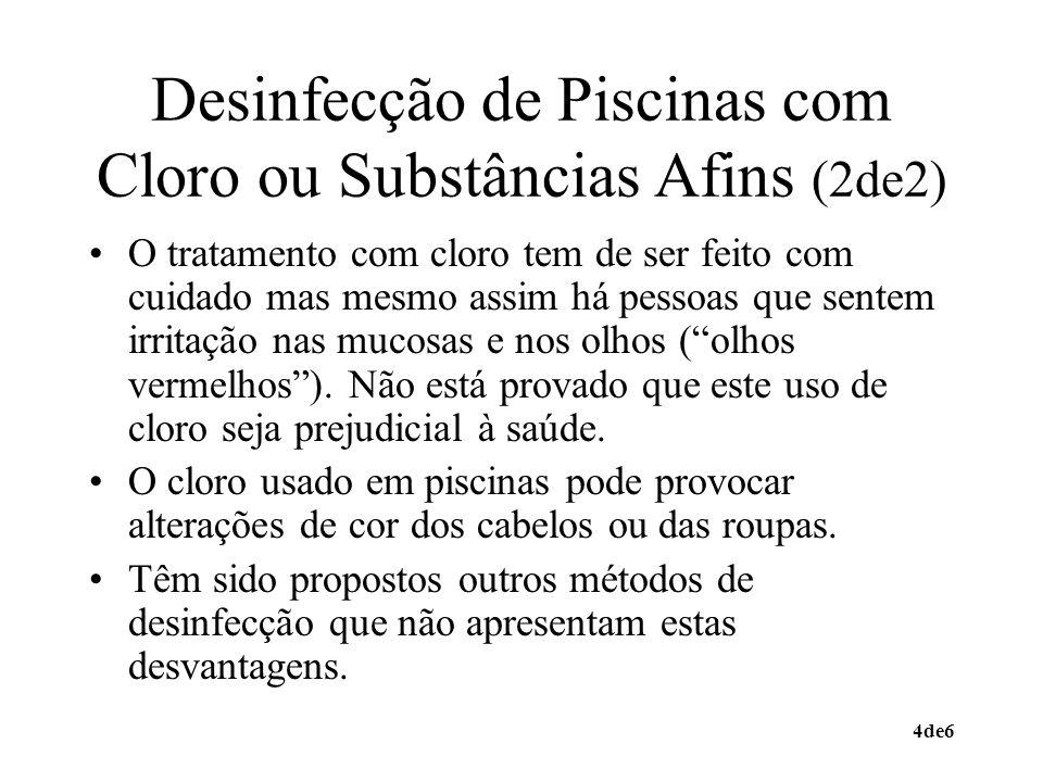 Desinfecção de Piscinas com Cloro ou Substâncias Afins (2de2)