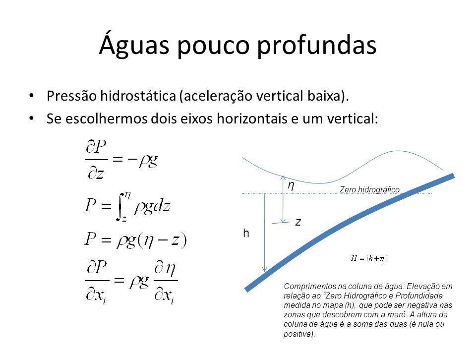 Águas pouco profundas Pressão hidrostática (aceleração vertical baixa). Se escolhermos dois eixos horizontais e um vertical: