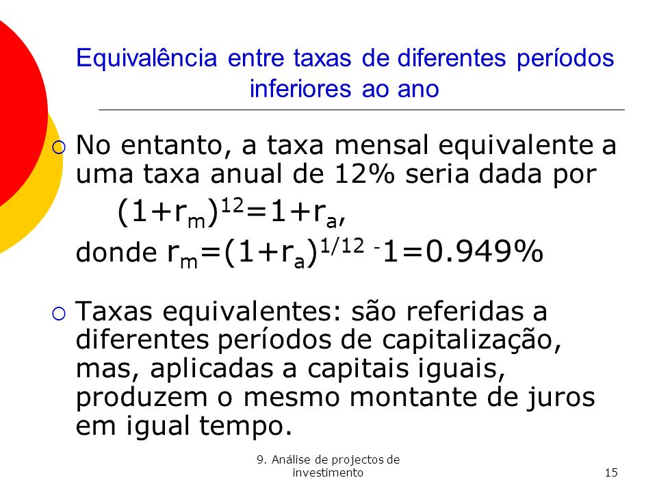 Equivalência entre taxas de diferentes períodos inferiores ao ano