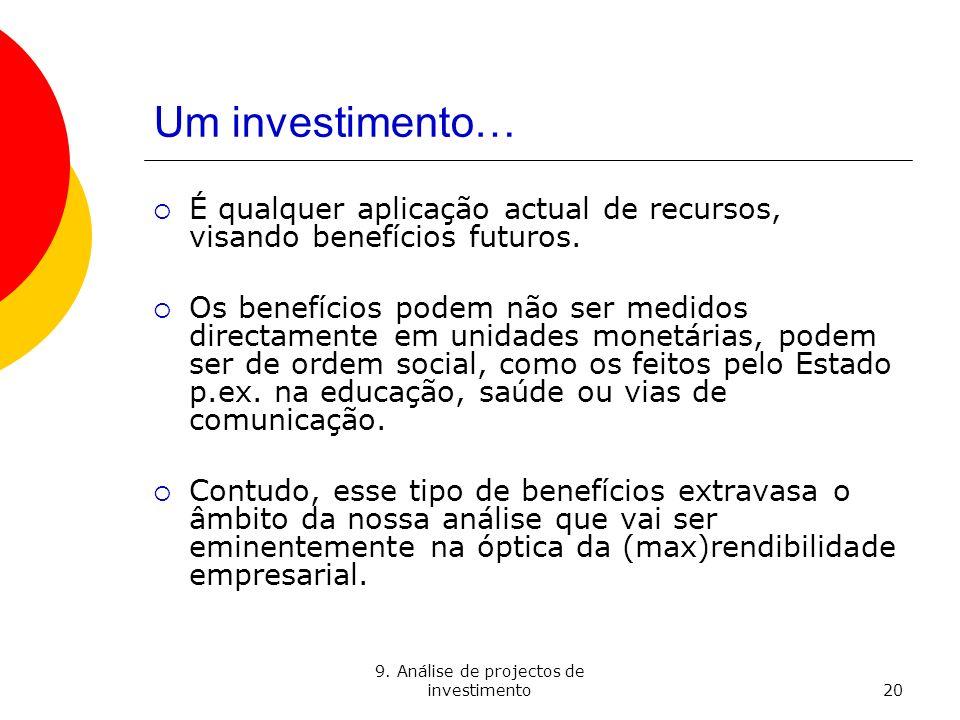 9. Análise de projectos de investimento
