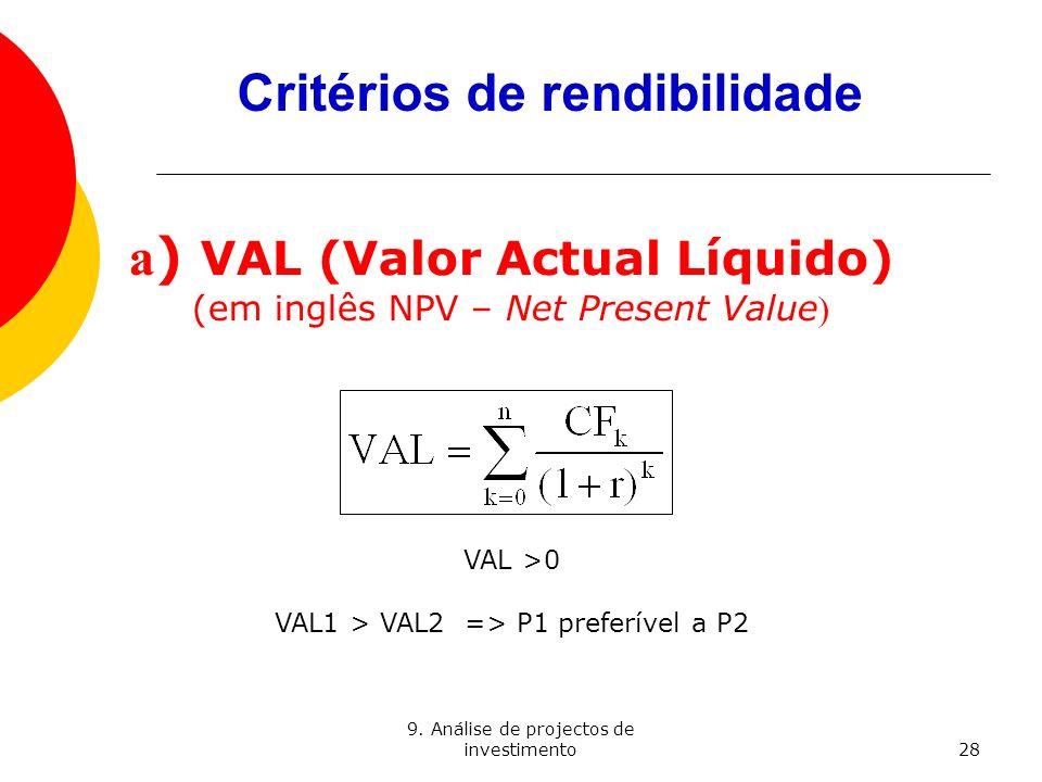 Critérios de rendibilidade a) VAL (Valor Actual Líquido)
