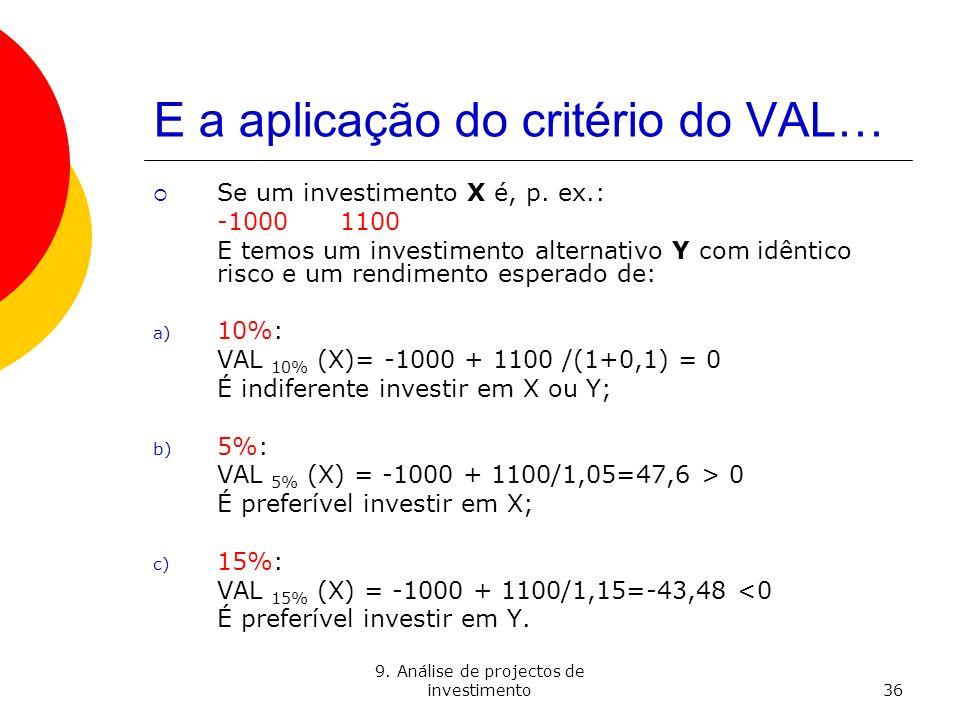 E a aplicação do critério do VAL…