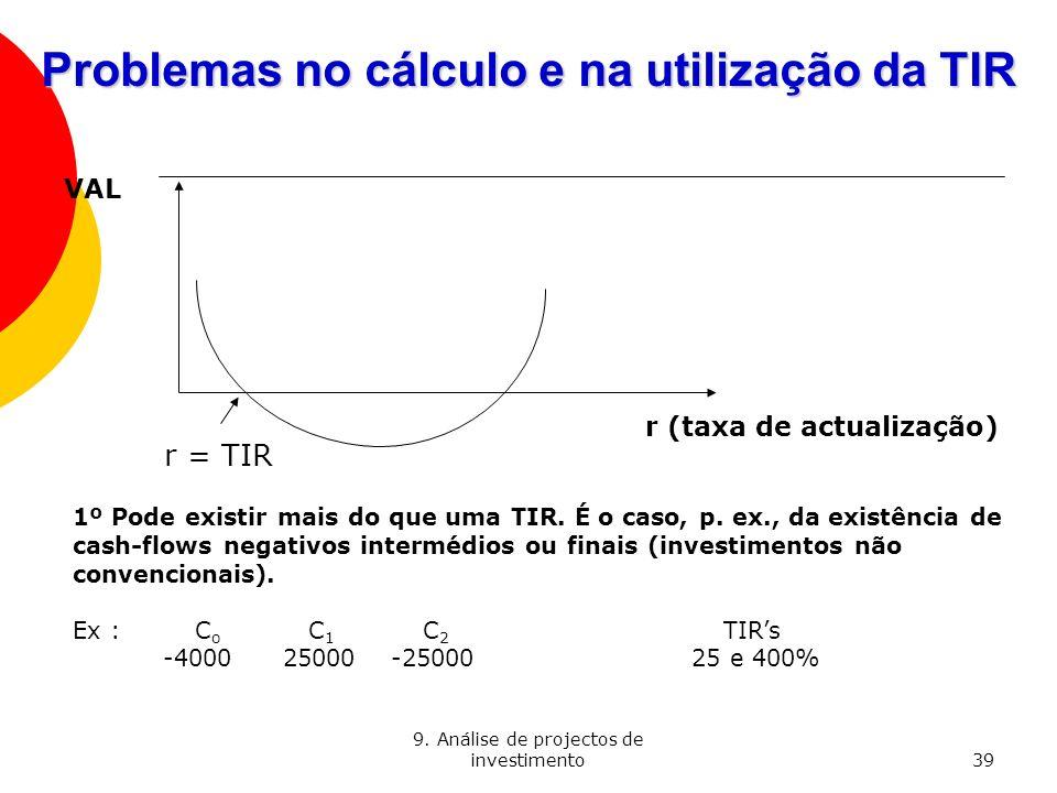 Problemas no cálculo e na utilização da TIR