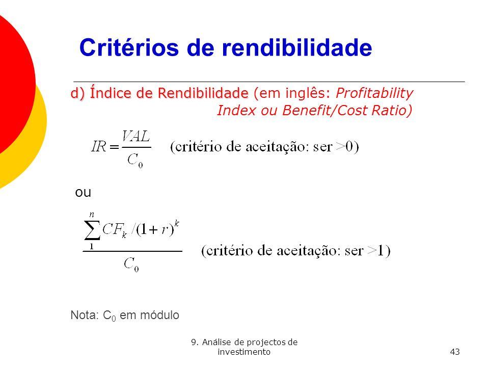 Critérios de rendibilidade