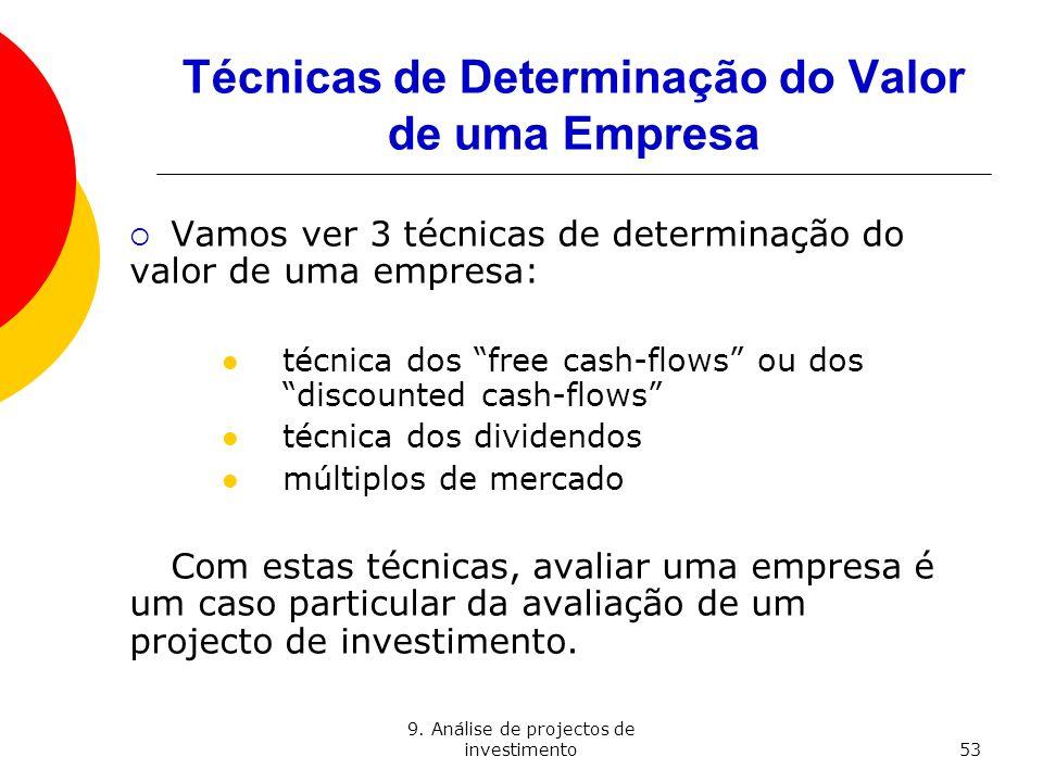 Técnicas de Determinação do Valor de uma Empresa