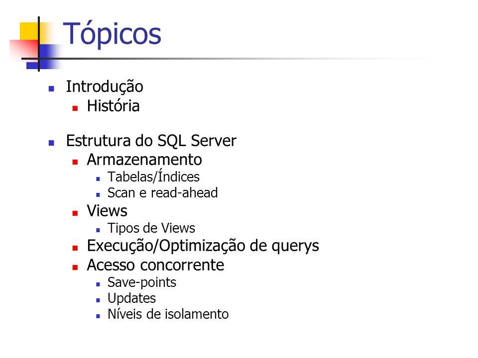 Tópicos Introdução História Estrutura do SQL Server Armazenamento