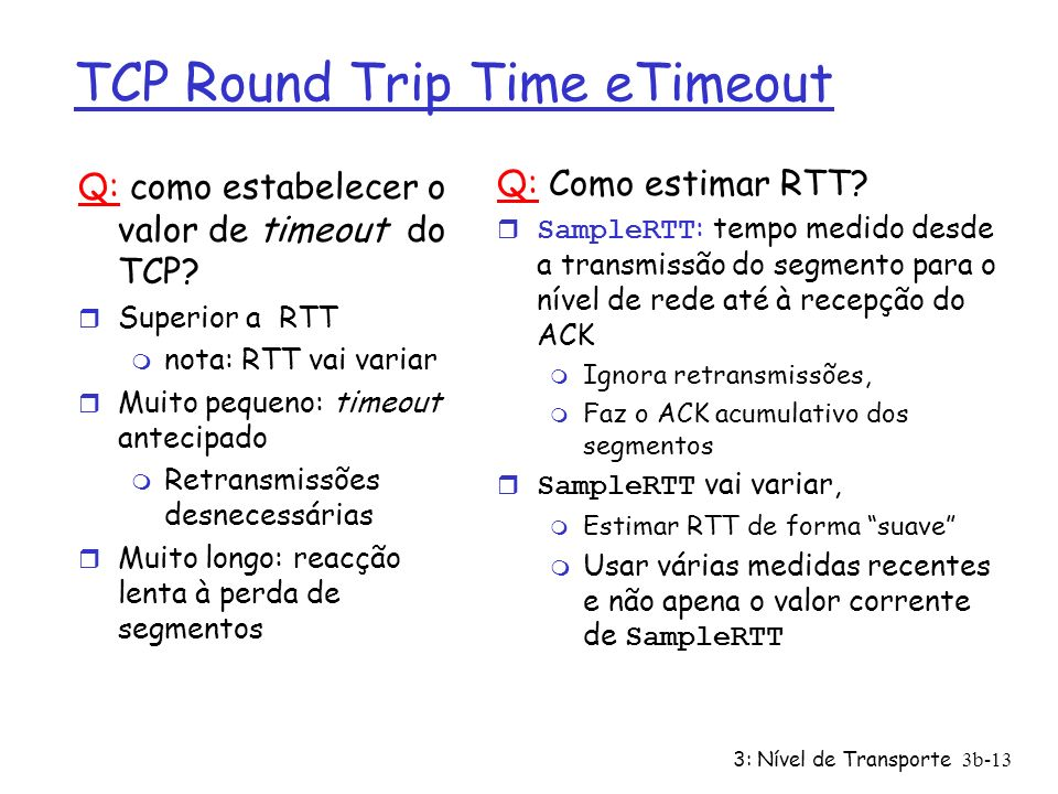 TCP Round Trip Time eTimeout