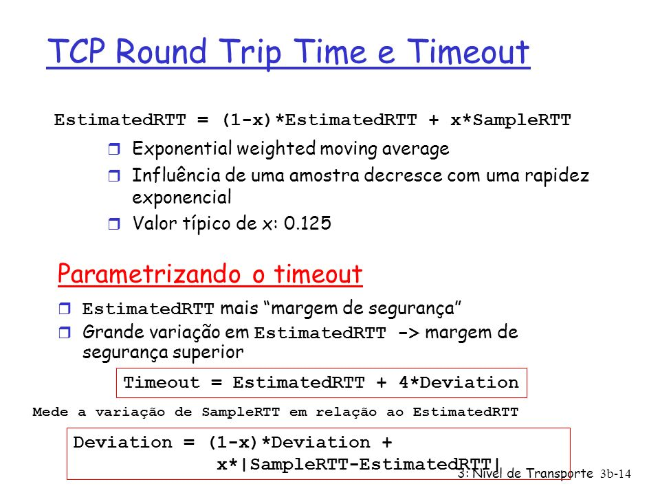 TCP Round Trip Time e Timeout