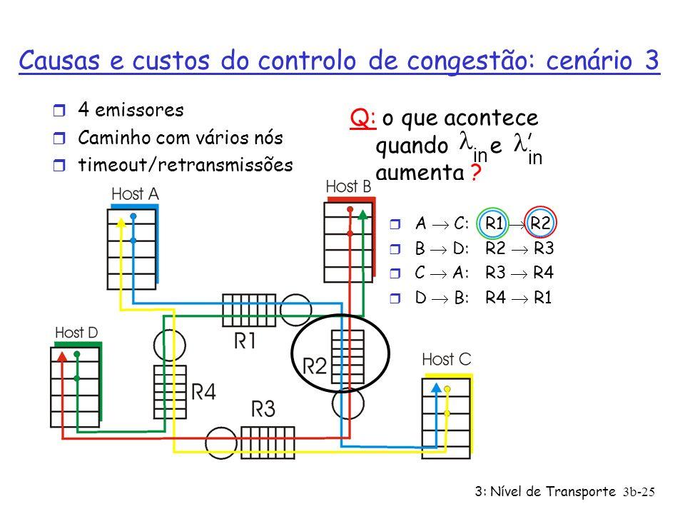 Causas e custos do controlo de congestão: cenário 3