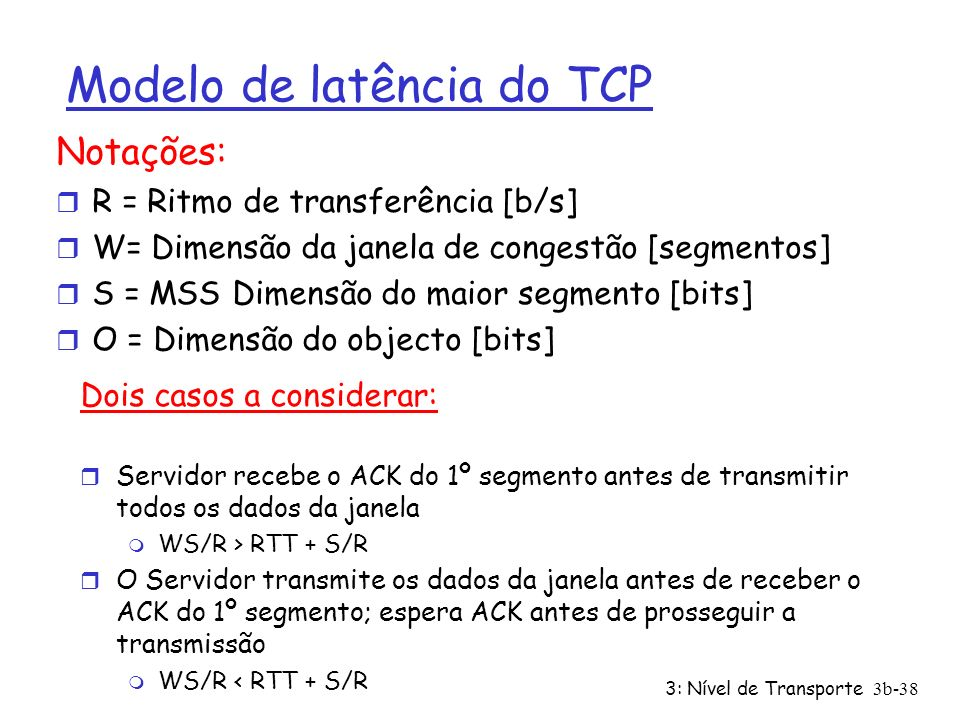 Modelo de latência do TCP
