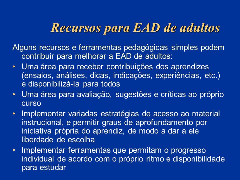 Recursos para EAD de adultos