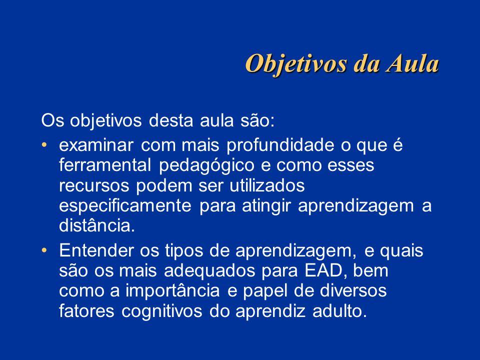 Objetivos da Aula Os objetivos desta aula são: