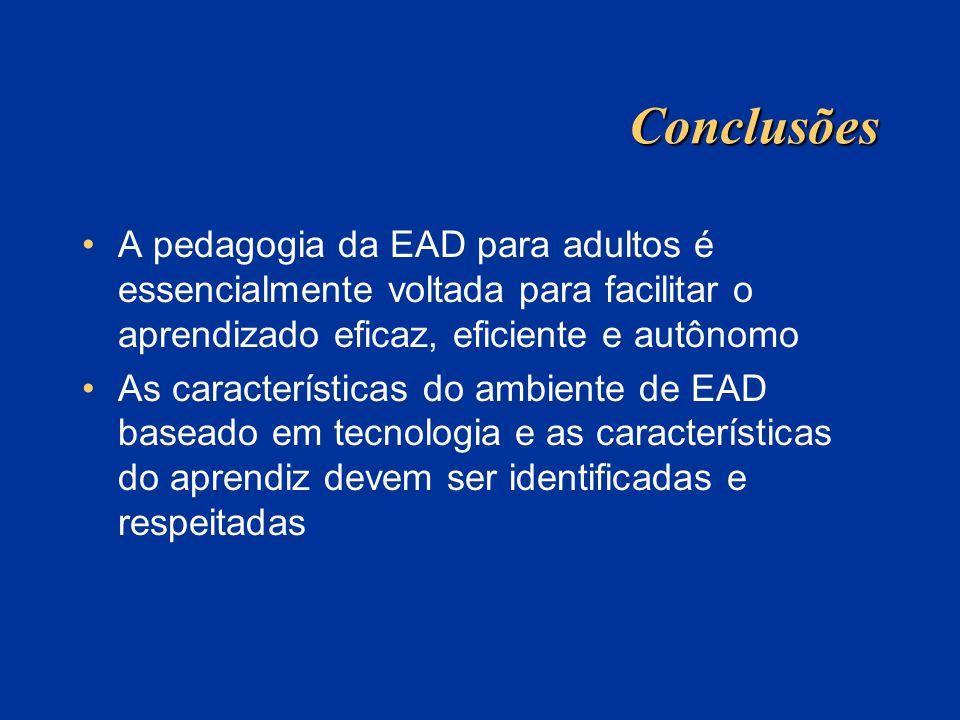 Conclusões A pedagogia da EAD para adultos é essencialmente voltada para facilitar o aprendizado eficaz, eficiente e autônomo.
