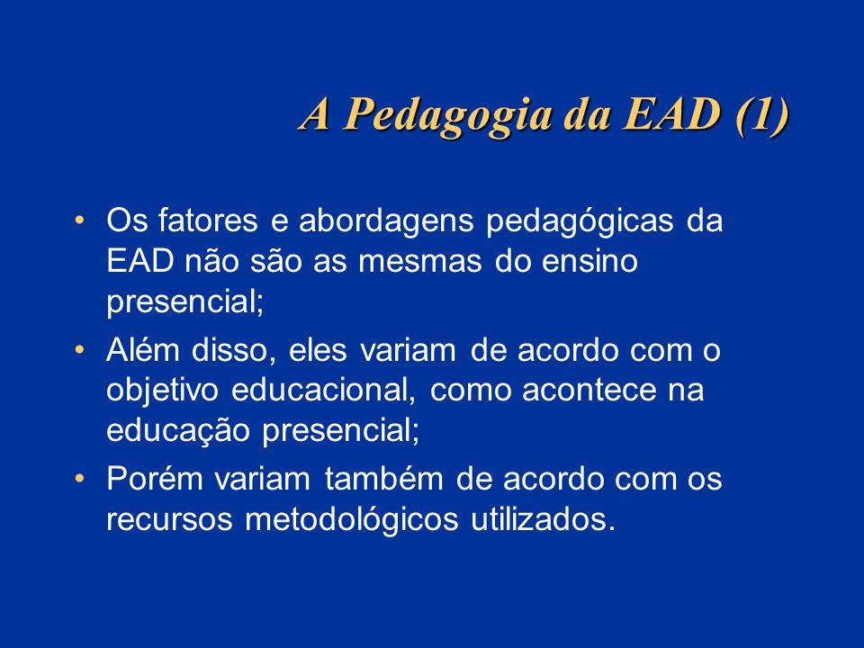 A Pedagogia da EAD (1) Os fatores e abordagens pedagógicas da EAD não são as mesmas do ensino presencial;