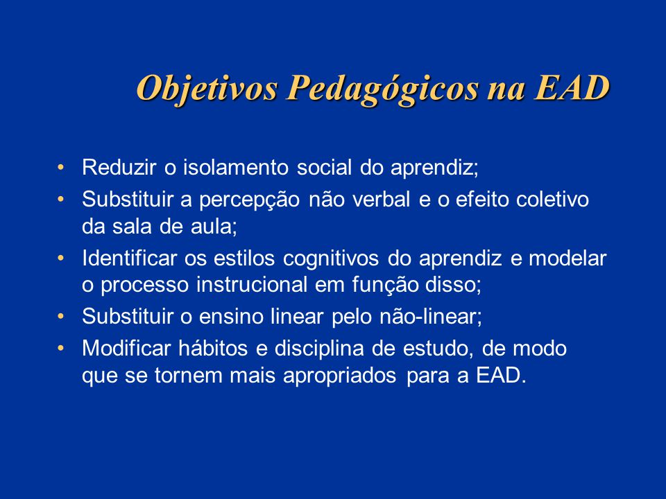 Objetivos Pedagógicos na EAD