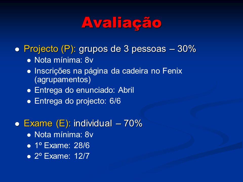 Avaliação Projecto (P): grupos de 3 pessoas – 30%
