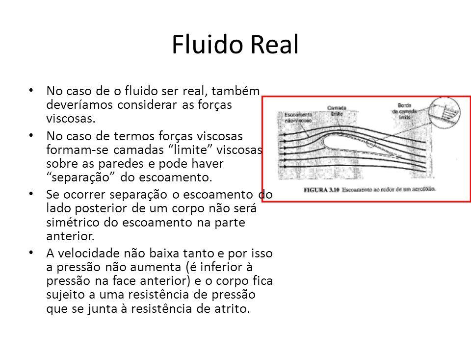 Fluido Real No caso de o fluido ser real, também deveríamos considerar as forças viscosas.