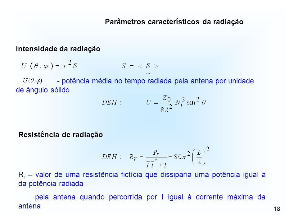 Parâmetros característicos da radiação