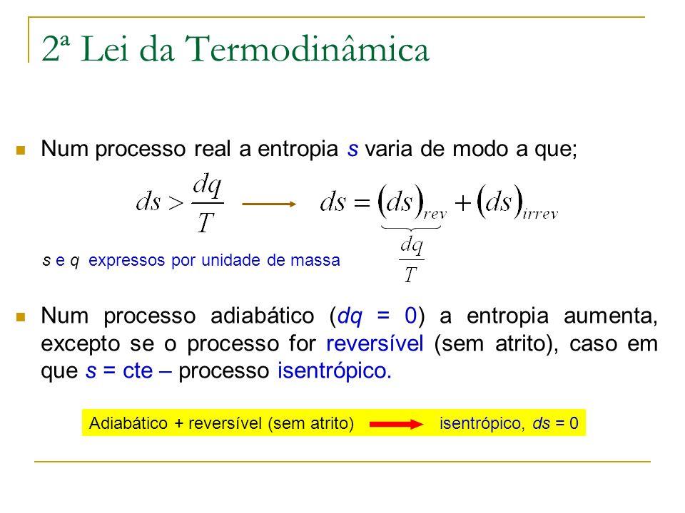 2ª Lei da TermodinâmicaNum processo real a entropia s varia de modo a que; s e q expressos por unidade de massa.