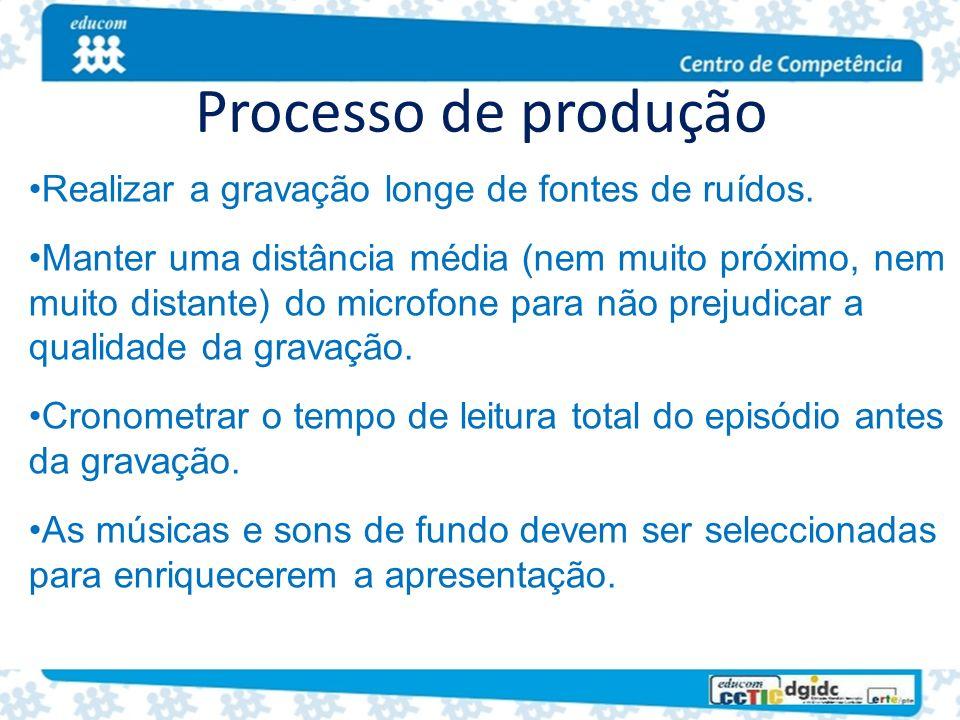 Processo de produção Realizar a gravação longe de fontes de ruídos.