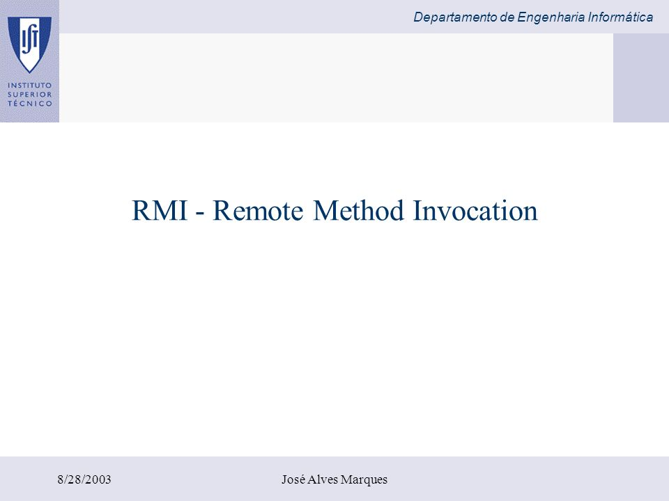 RMI - Remote Method Invocation