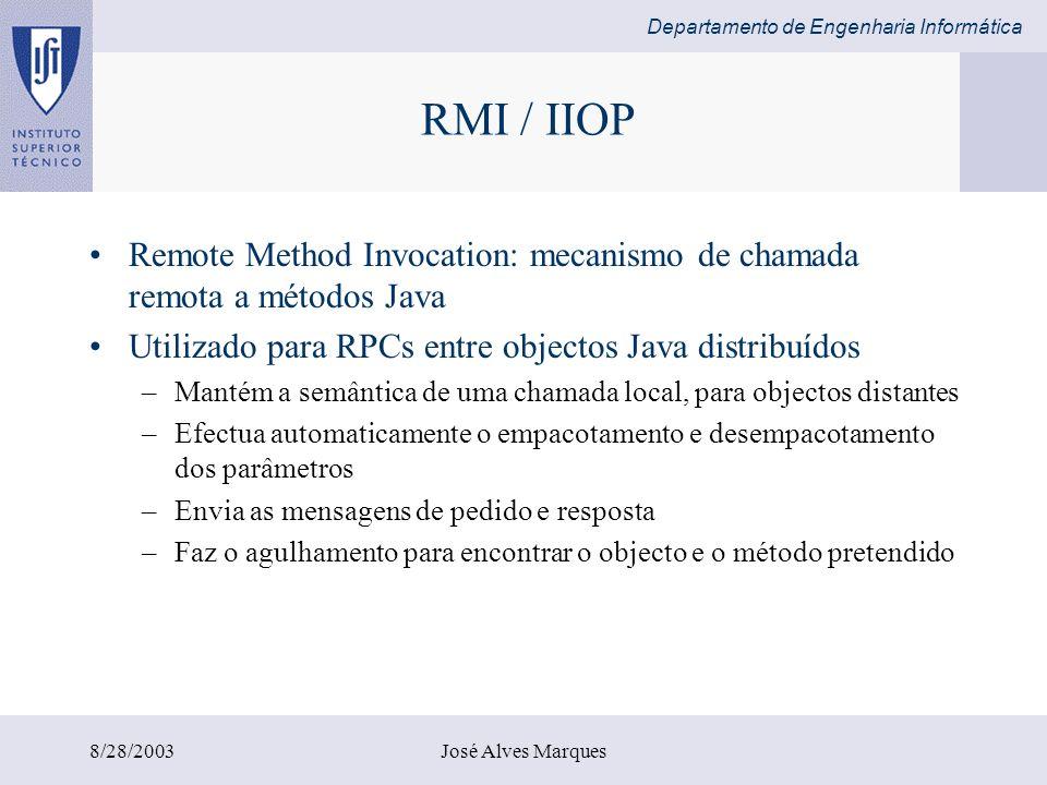 RMI / IIOP Remote Method Invocation: mecanismo de chamada remota a métodos Java. Utilizado para RPCs entre objectos Java distribuídos.
