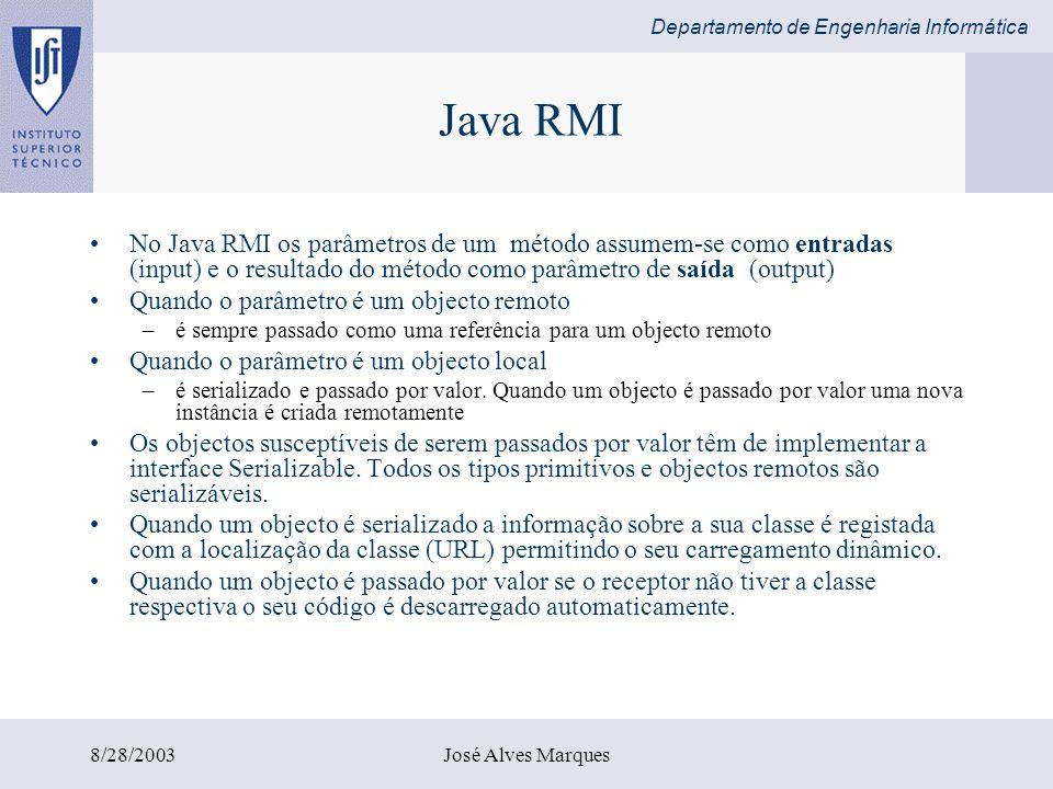 Java RMI No Java RMI os parâmetros de um método assumem-se como entradas (input) e o resultado do método como parâmetro de saída (output)