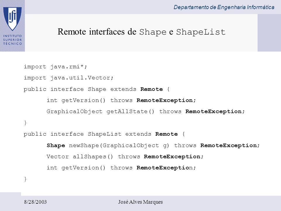 Remote interfaces de Shape e ShapeList