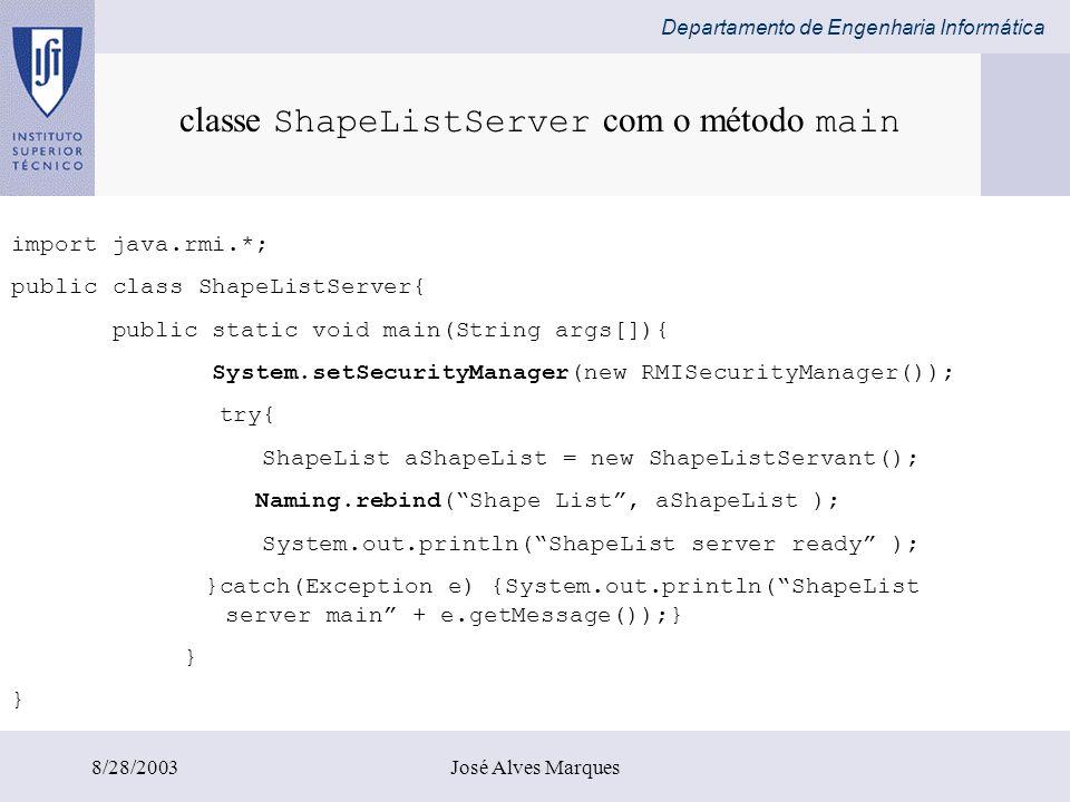 classe ShapeListServer com o método main