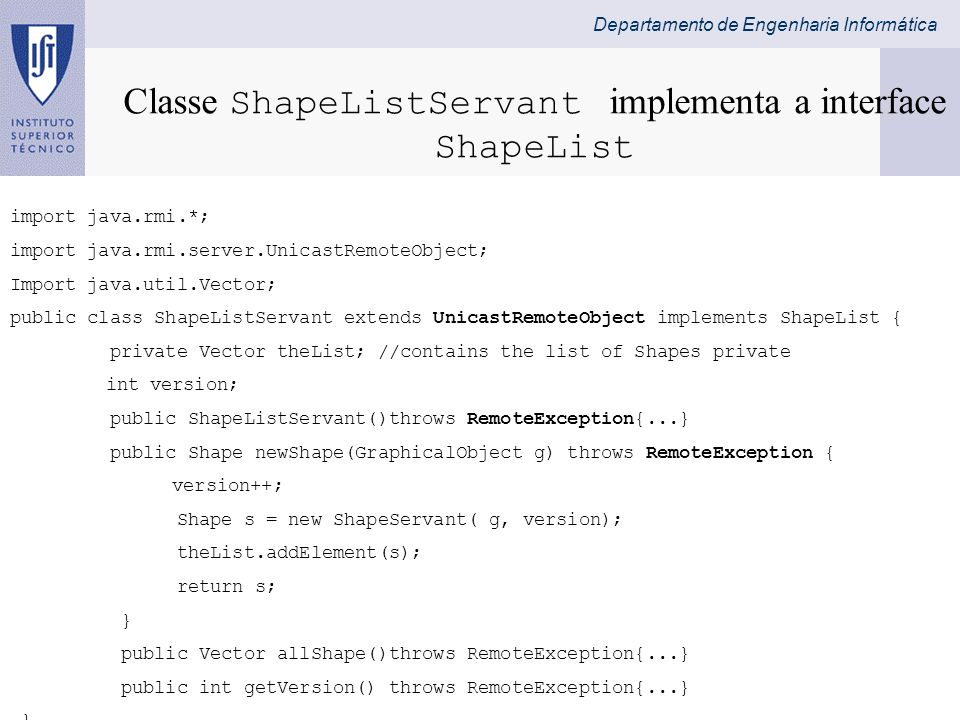Classe ShapeListServant implementa a interface ShapeList
