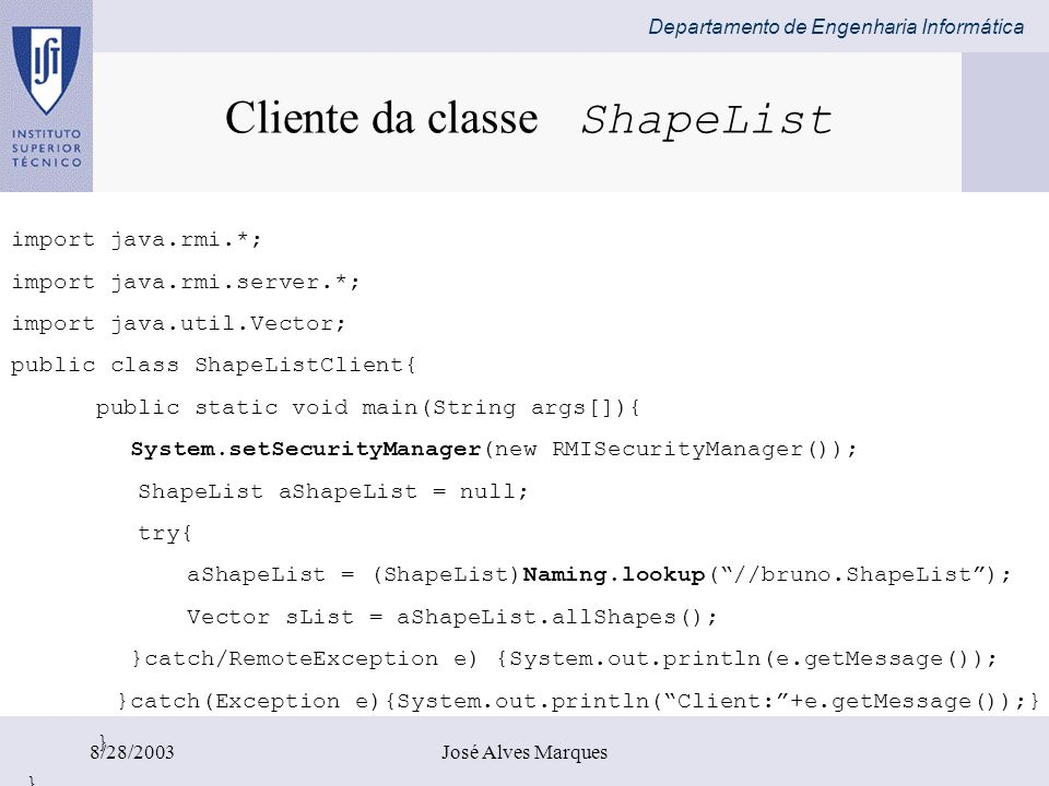 Cliente da classe ShapeList