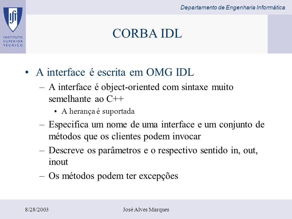 CORBA IDL A interface é escrita em OMG IDL