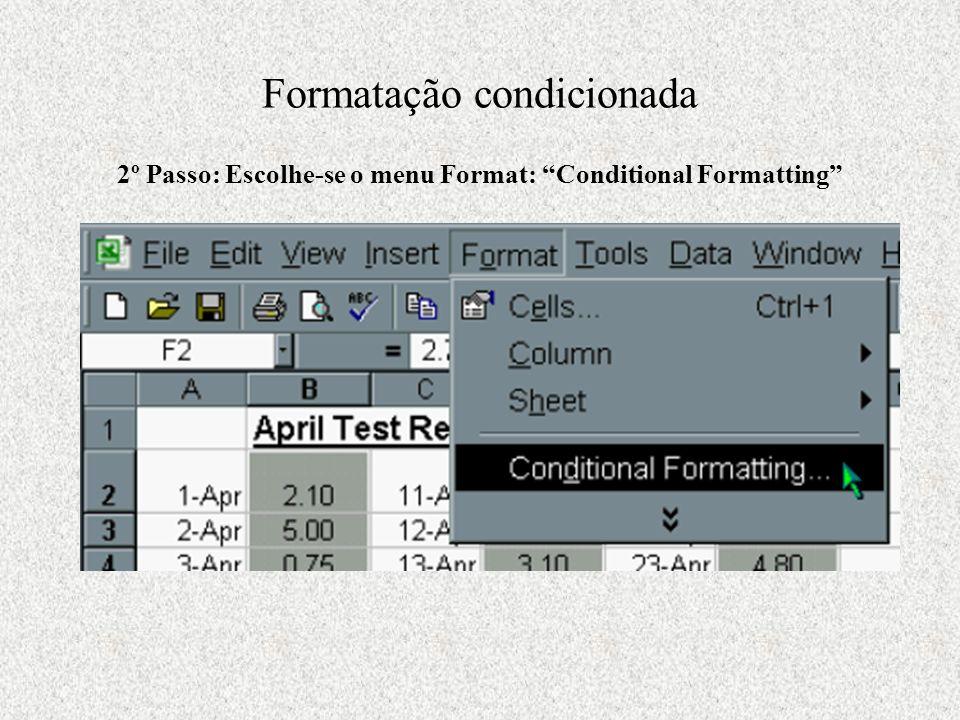 2º Passo: Escolhe-se o menu Format: Conditional Formatting