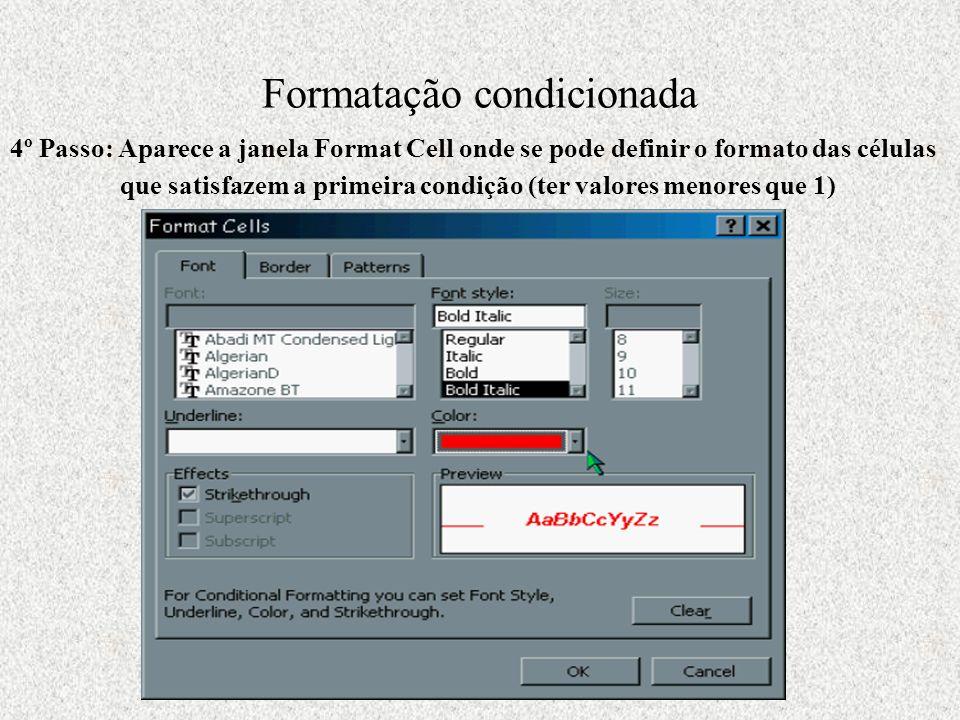 Formatação condicionada