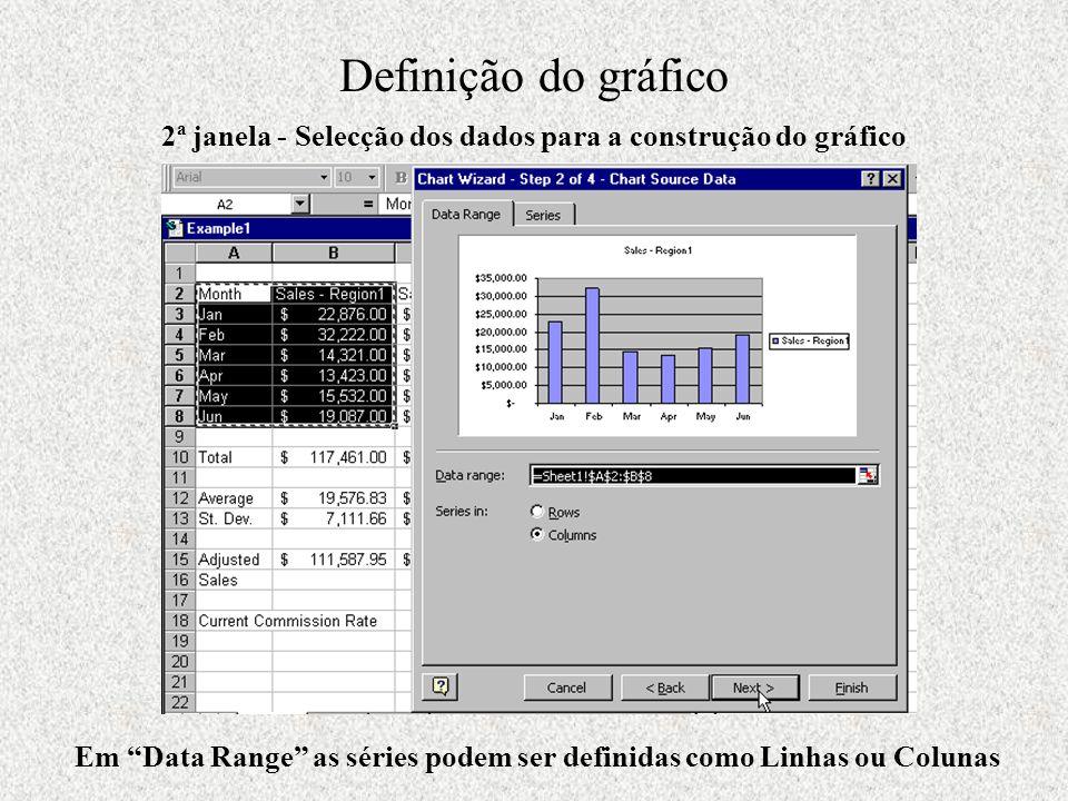 Definição do gráfico 2ª janela - Selecção dos dados para a construção do gráfico.