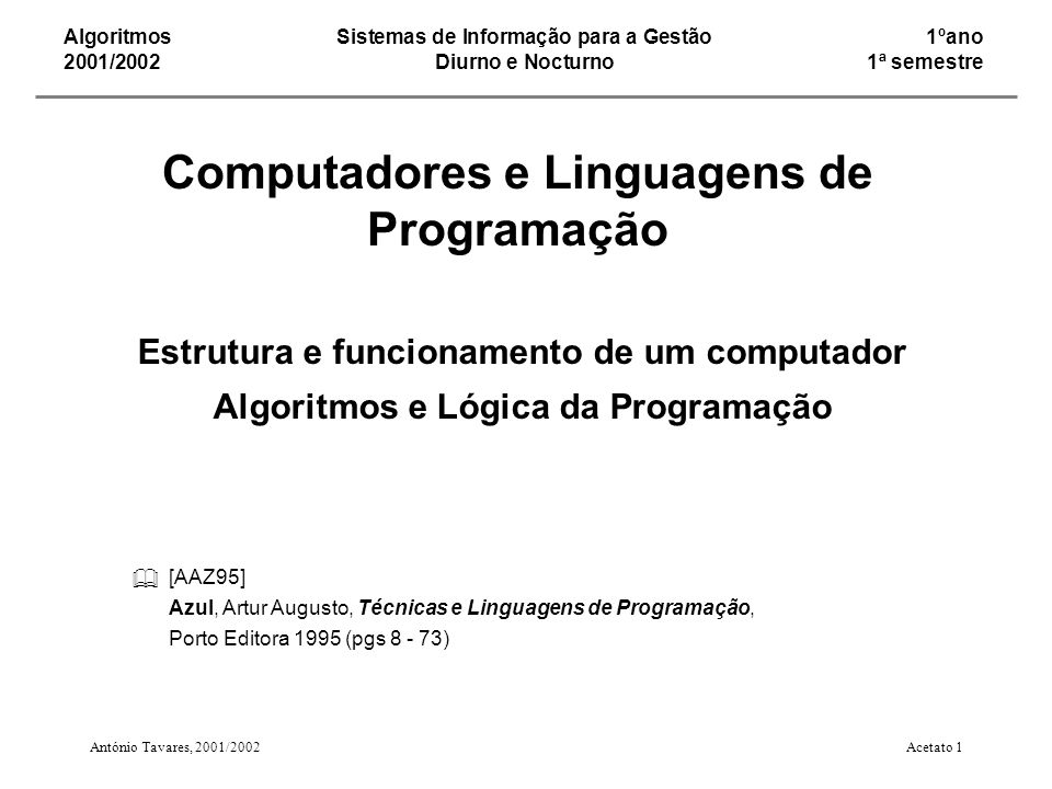 Computadores e Linguagens de Programação