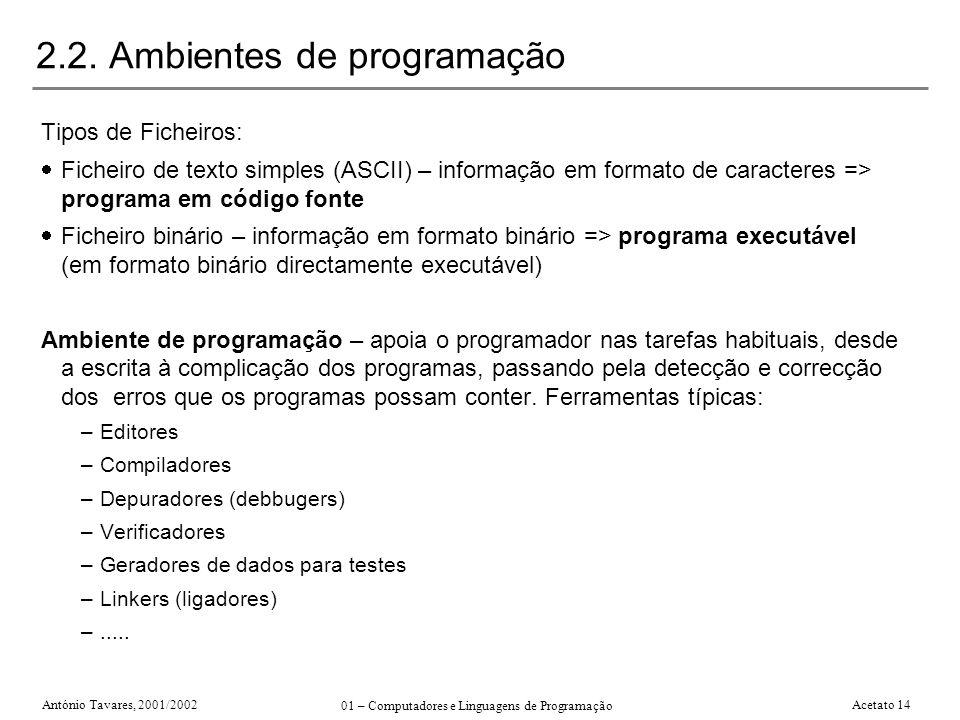 2.2. Ambientes de programação