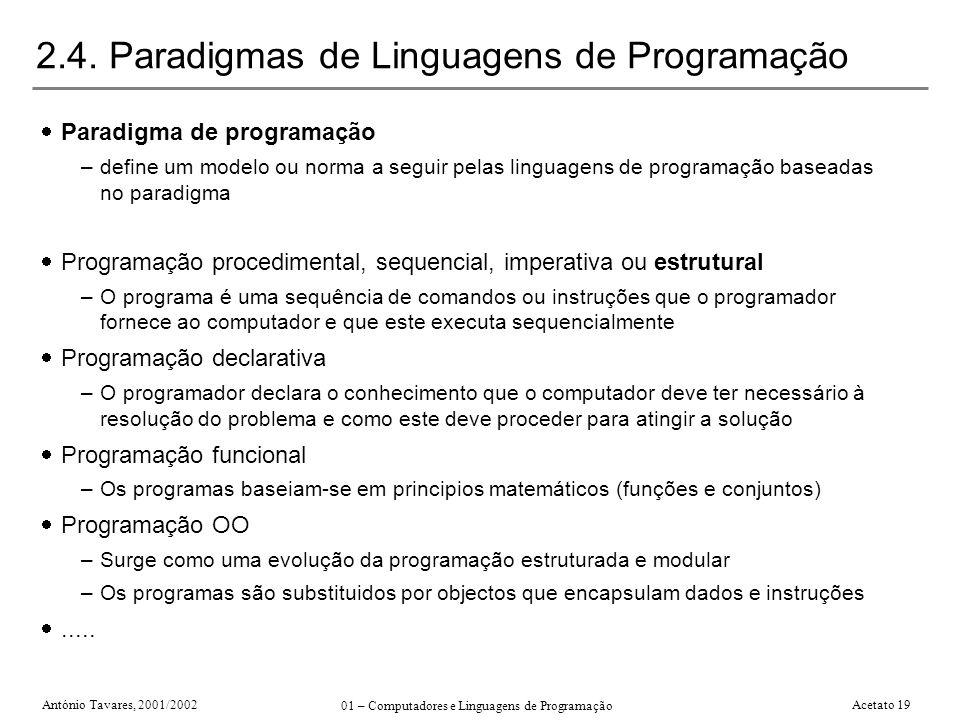 2.4. Paradigmas de Linguagens de Programação