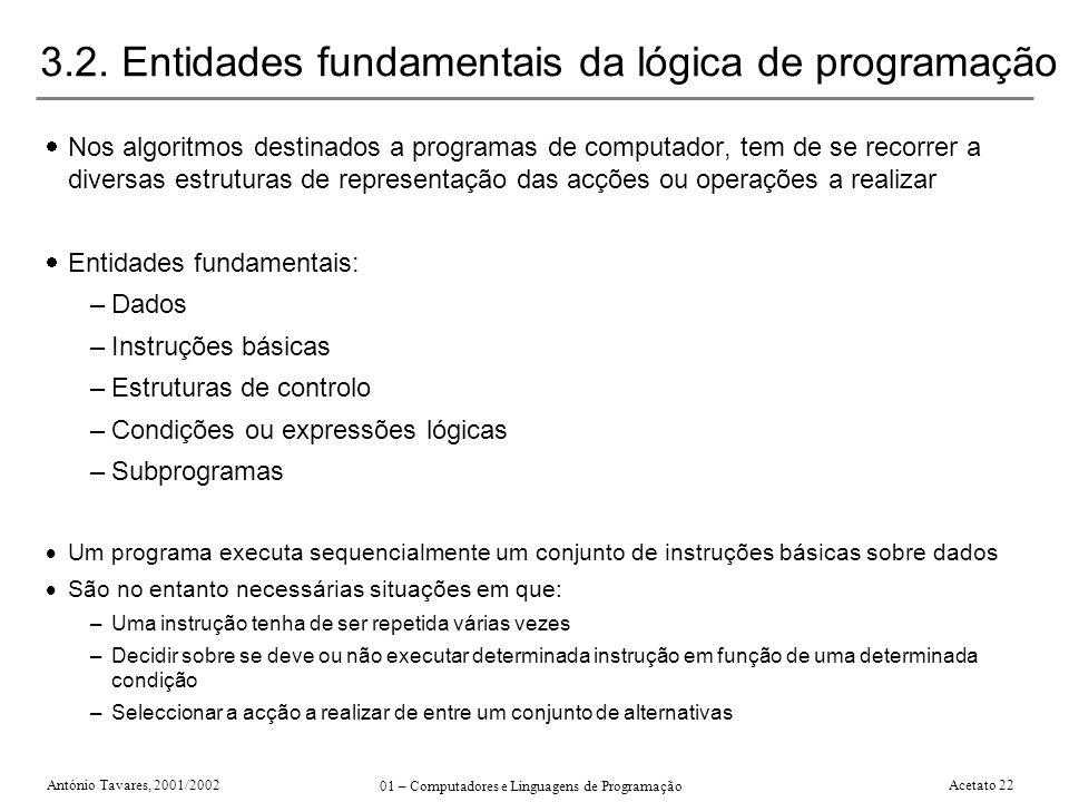 3.2. Entidades fundamentais da lógica de programação