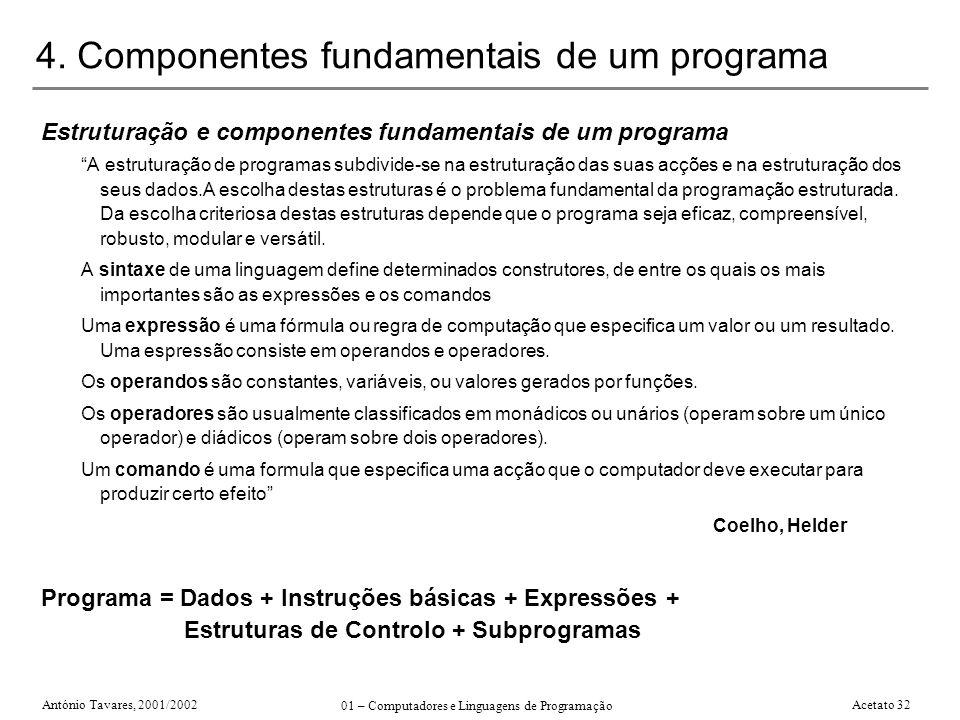 4. Componentes fundamentais de um programa