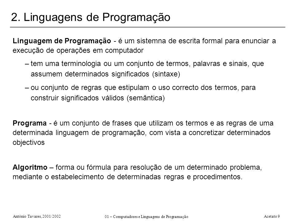 2. Linguagens de Programação