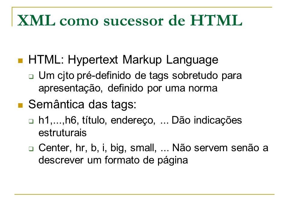 XML como sucessor de HTML