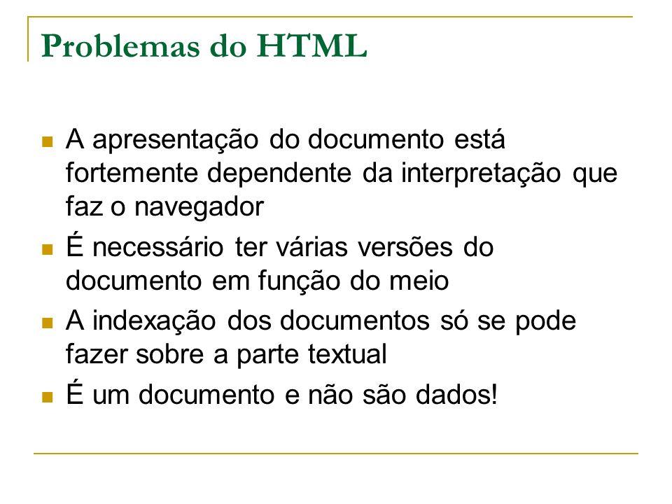 Problemas do HTMLA apresentação do documento está fortemente dependente da interpretação que faz o navegador.