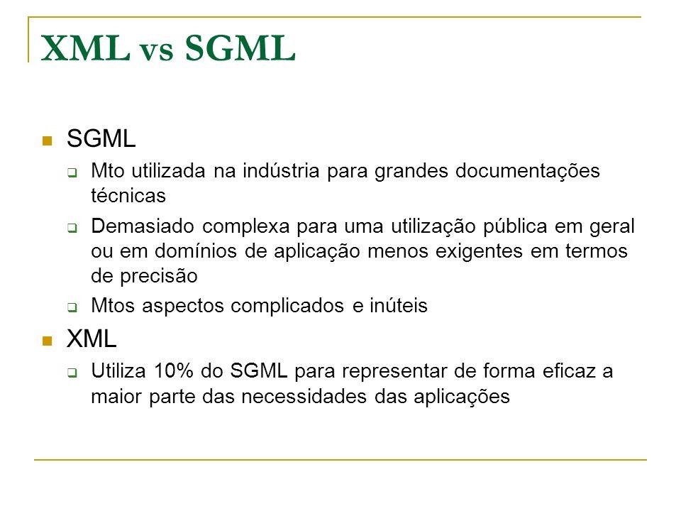 XML vs SGMLSGML. Mto utilizada na indústria para grandes documentações técnicas.
