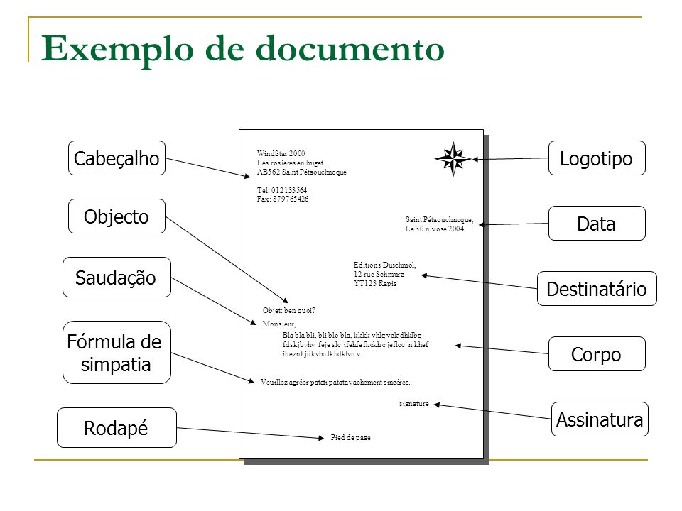 Exemplo de documento Cabeçalho Logotipo Objecto Data Saudação