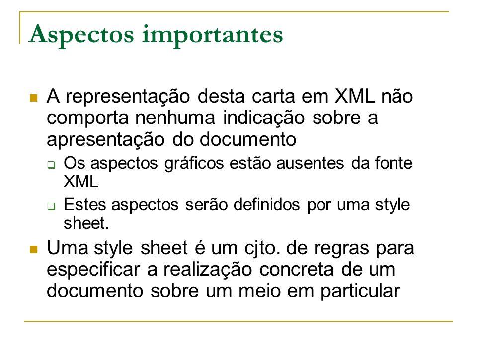 Aspectos importantesA representação desta carta em XML não comporta nenhuma indicação sobre a apresentação do documento.